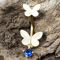 Gold Plated Double Butterfly WildKlass Navel Ring