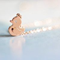 duck necklace, rose gold titanium, baby duck, yellow duck, modern jewelry for sensitive skin, cute jewellery