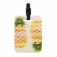 """Judith Loske """"Happy Pineapples """" Yellow Gold Decorative Luggage Tag"""
