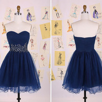Navy Blue Sweetheart Beading Belt Short Prom Dress/Knee Length Homecoming Dress/Sexy party Dress/Tulle Prom Dress DAF0109