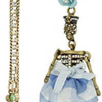 "Betsey Johnson ""Skulls and Roses"" Pave Girl Skull and Multi-Chain Linear Mismatch Drop Earrings"