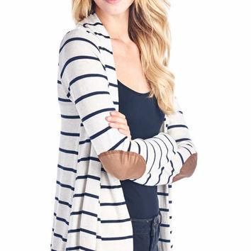 Navy Blue Striped Cardigan With Suede Elbow Patch