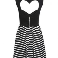 STRIPE HEART CUTOUT SKATER DRESS