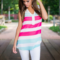 Saturday Sailing Top, Fuchsia