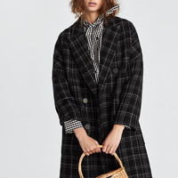 LONG CHECK COAT DETAILS