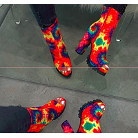 High waterproof platform Fish mouth boots Tie-dye Color printing Women's shoes  Red&Green&blue(Go round Tie-dye)