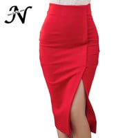 Autumn Winter High Waisst midi bobycon pencil skirts