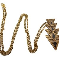 European Vintage Style Gold Triangle Pendent Long Chain Necklace(WP-H96)