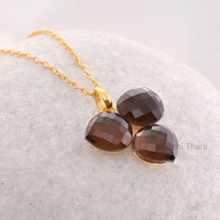 Smoky Quartz Heart 12mm - Handmade Pendant Necklace - Micron Gold Plated 925 Sterling Silver Necklace #7455