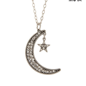 Aeropostale  Womens Pave Moon Long-Strand Necklace - Gray