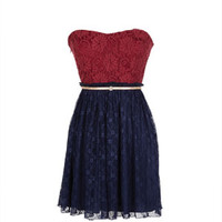 Delia's Strapless Red Lace Pleated Dress