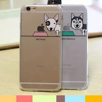 Lovely couple dog transparent mobile phone case for iphone 5 5s SE 6 6S 6plus 6s plus