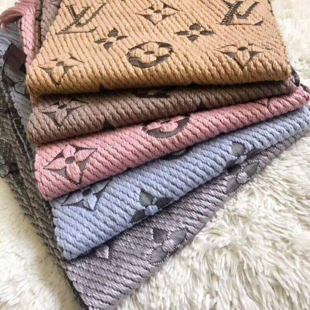 Image of LV fashion cashmere knit embroidery printed fringed scarf for men and women