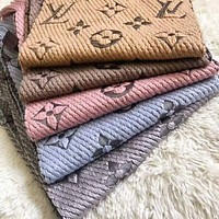 Onewel LV fashion cashmere knit embroidery printed fringed scarf for men and women