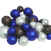 Pack of 27 Shatterproof Blue, Chocolate and Silver Christmas Ball Ornaments