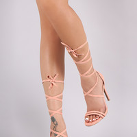 Qupid Lace Up Open Toe Heel