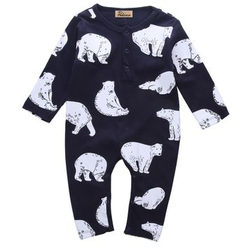 Newborn Infant Spring Winter Kids Baby Boy Girls Bear Romper Jumpsuit Cotton O Neck Clothes Outfit