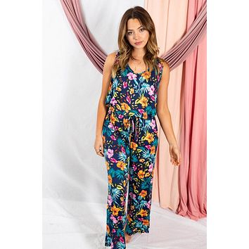 Babe Squad Navy Tropical Floral Sleeveless Jumpsuit