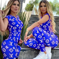 LV Fashion New Monogram Print Top And Pants Two Piece Suit Blue