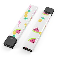 Animated Flamingos and Fruit - Premium Decal Protective Skin-Wrap Sticker compatible with the Juul Labs vaping device