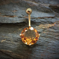 14k Solid Gold Ring 14g Belly Button Ring Citrine 14k Yellow Gold 14g Navel Ring Navel Jewelry Belly Button Jewelry