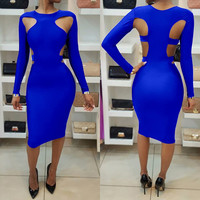Sexy Scoop Hollow Out Long Sleeve Bodycon Knee-length Dress