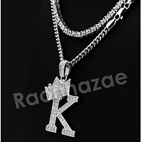 Crown K Initial Pendant Necklace Set.