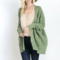 final sale - southern comfort open knit cardigan - sage