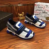 Dolce & Gabbana D&G Sorrento Sneakers In Mixed Materials White/blue