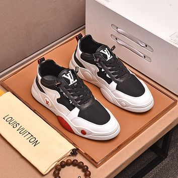 Louis Vuitton* Men Fashion Boots fashionable Casual leather Breathable Sneakers Running Shoes