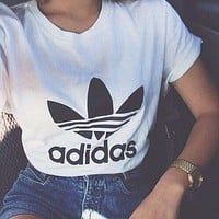 ADIDAS Hot Sale Classic Printed Letter Clover T-Shirt Hoodie