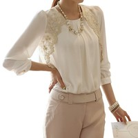 Women Ladies Long Sleeve Embroidered Chiffon Casual Loose Tops Blouse Shirt