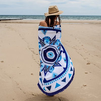 Round Print Tassel Beach Towel Dorm Tapestry Decorative Wall Hanging Picnic Beach Sheet Coverlet Bohemian Mandala Wall Tapestry 11717 150cm*150cm