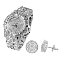Men's Fully Iced Out White Gold Finish Lab diamonds Techno Pave Watch & Earrings Combo