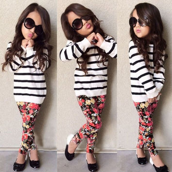Cute Fashion Kids Girls Elegant Two Pieces O-Neck Long Sleeve Striped Hoodie Sweat Tops and Floral Elastic Waist Pants Clothing Set = 1745501124