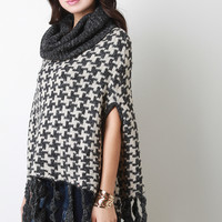 Houndstooth Cowl Neck Knit Cape