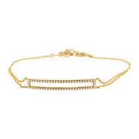 0.18ct 14k Yellow Gold Diamond Bar Bracelet