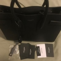 YSL SAINT LAURENT SAC DE JOUR SMALL CARRY ALL BAG IN BLACK GRAINED LEATHER