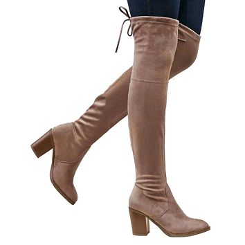 Womens Over the Knee Boots w/ Drawstring Accent Taupe