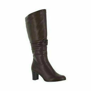 Easy Street Women Tessla Tall Boots Rouched Brown Leather Shoe Block Heel US 8 W