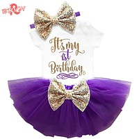 born Baby Girl Clothing Sets My Little Girl 1st Birthday Outfits Baby Romper Skirt Headband Infant Party Costume Kids Clothes