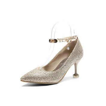 Woman's Pointed High Heels Sequin Bridal Shoes Pumps