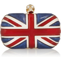 Alexander McQueen | The Britannia Skull leather box clutch  | NET-A-PORTER.COM