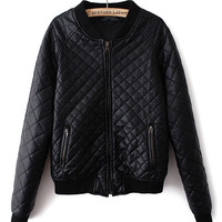 Black Plaid Texture Zip-Up Leather Jacket