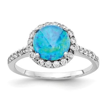 Cheryl M Sterling Silver Round Lab Created Blue Opal and CZ Halo Ring