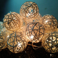 20x White Tone Rattan ball fairy  string light for home decoration