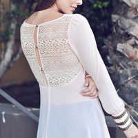 Evening Under the Stars Peach Top with Crochet Back