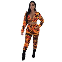 fhotwinter19 hot sale sexy camouflage hooded two-piece suit