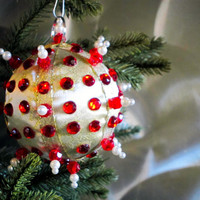 Christmas Ornament, Gold Ball with Red & Pearl Accents in Gift Box, Handmade Fabric Christmas Tree Decoration, Holiday Decor Wrapped Present