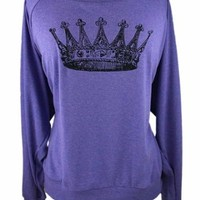 YogaColors Black Heart Tri-Blend Light Weight Raglan Pullover (Large, Orchid Crown)